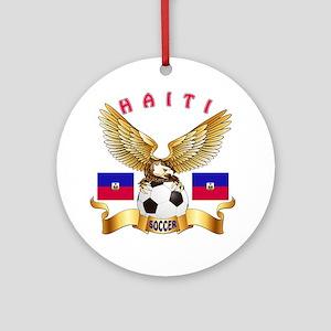 Haiti Football Design Ornament (Round)