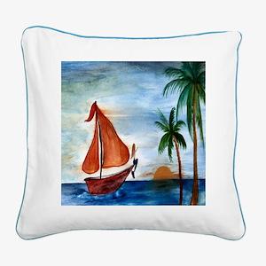 Sailing Mermaid Square Canvas Pillow
