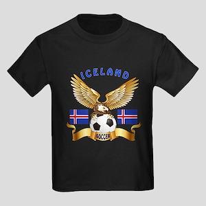 Iceland Football Design Kids Dark T-Shirt