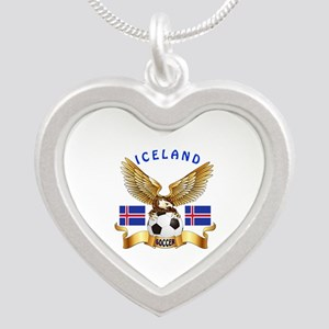 Iceland Football Design Silver Heart Necklace