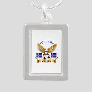 Iceland Football Design Silver Portrait Necklace