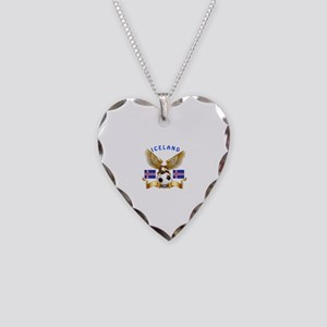 Iceland Football Design Necklace Heart Charm