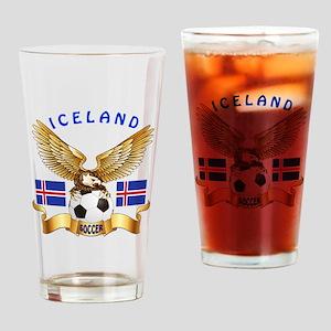 Iceland Football Design Drinking Glass