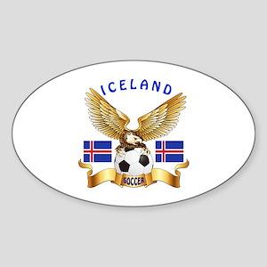 Iceland Football Design Sticker (Oval)