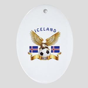 Iceland Football Design Ornament (Oval)