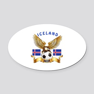 Iceland Football Design Oval Car Magnet