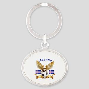 Iceland Football Design Oval Keychain