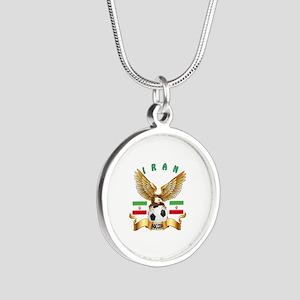 Iran Football Design Silver Round Necklace