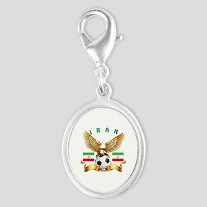 Iran Football Design Silver Oval Charm