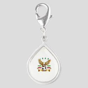 Iran Football Design Silver Teardrop Charm