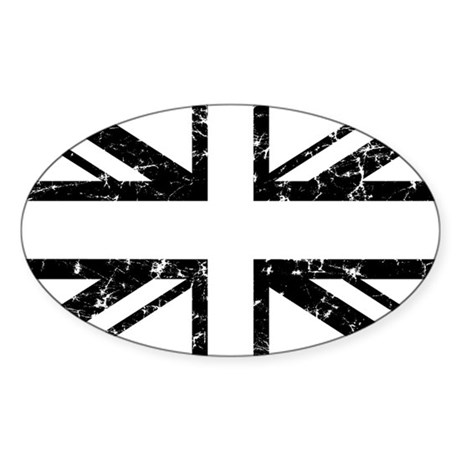 """Black Lines Union Jack"" Oval Sticker"
