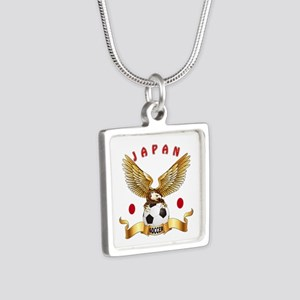 Japan Football Design Silver Square Necklace