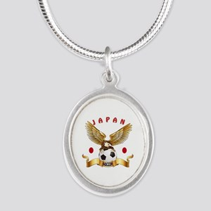 Japan Football Design Silver Oval Necklace