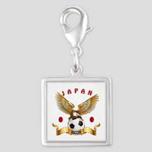 Japan Football Design Silver Square Charm
