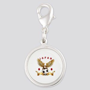 Japan Football Design Silver Round Charm