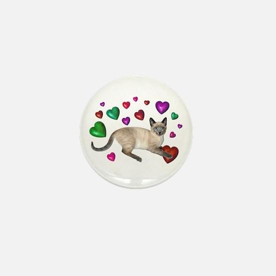 Cat Hearts Love Mini Button