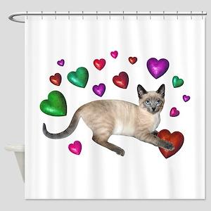 Cat Hearts Love Shower Curtain
