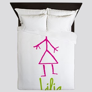 Lilia-cute-stick-girl Queen Duvet