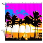 Corey Tiger 80s Palm Trees Island Shower Curtain
