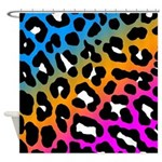Corey Tiger 80s Neon Leopard Print Shower Curtain