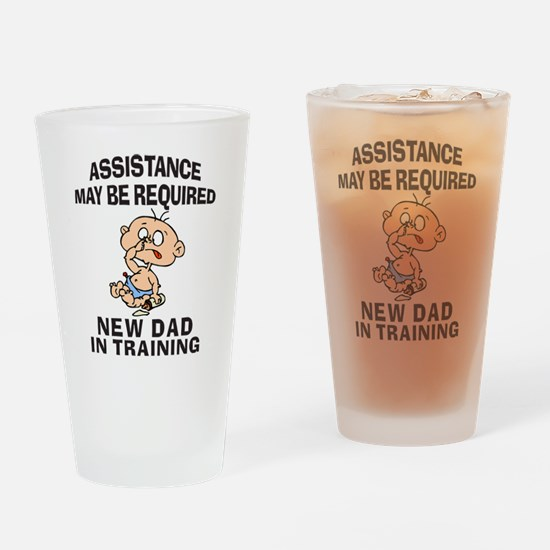 Cute Funny new dad Drinking Glass
