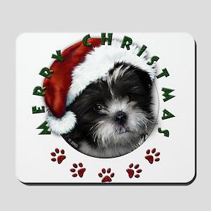 Merry Christmas Shih Tzu with Santa Hat Mousepad