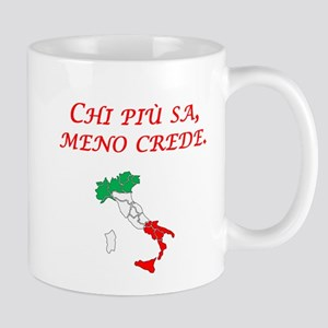 Italian Proverb The More One Knows Mug