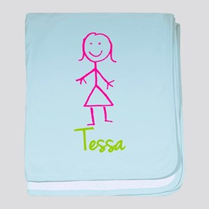 Tessa-cute-stick-girl baby blanket
