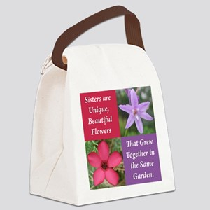Flower_4Square_PinkPurple Canvas Lunch Bag