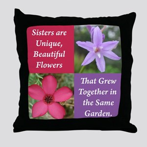 Flower_4Square_PinkPurple Throw Pillow
