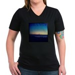 Grange beach Women's V-Neck Dark T-Shirt