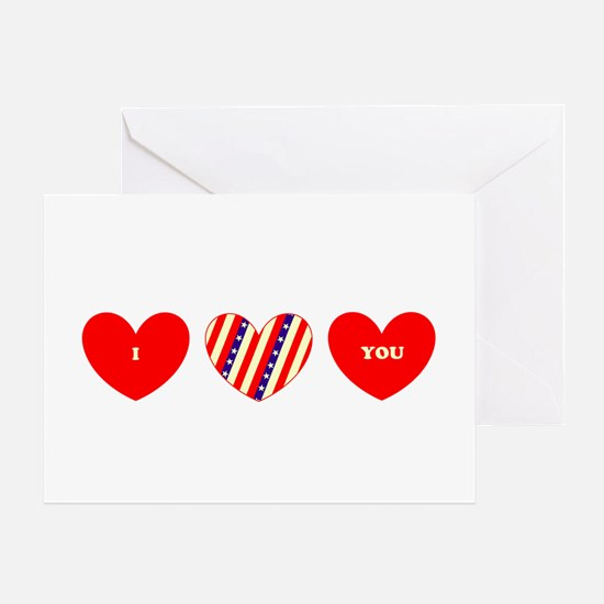 I Love You Heart Trio 23 Red Blue Greeting Card