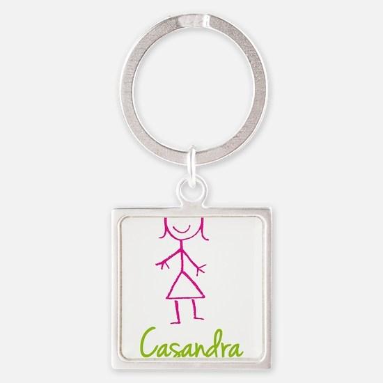 Casandra-cute-stick-girl.png Square Keychain