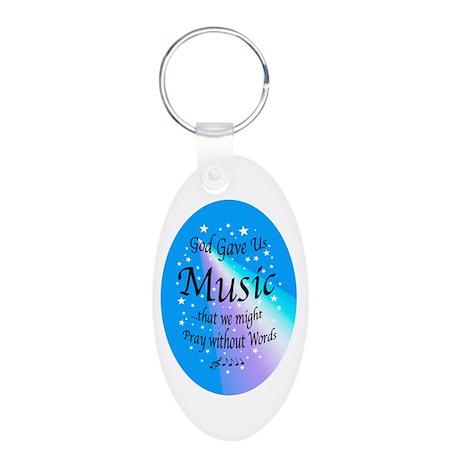God Gave Us Music Aluminum Oval Keychain