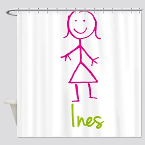 Ines-cute-stick-girl Shower Curtain