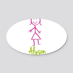 Alyson-cute-stick-girl Oval Car Magnet