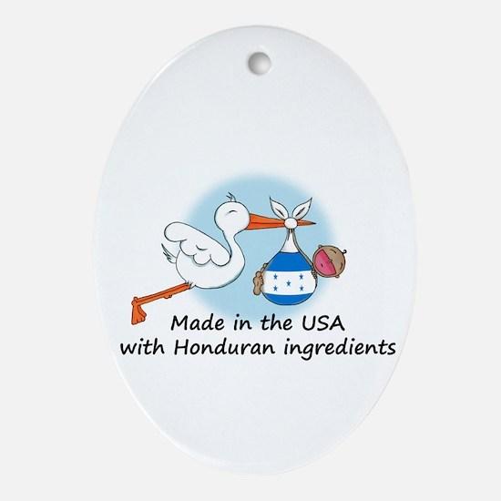 Stork Baby Honduras USA Ornament (Oval)