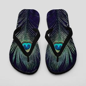 Royal Purple Peacock Flip Flops