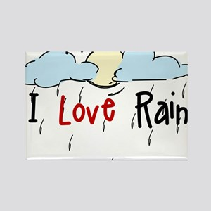 I Love Rain Rectangle Magnet
