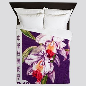 Vintage China Cattleya Orchid Stamp Queen Duvet