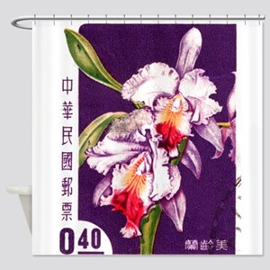 Vintage China Cattleya Orchid Stamp Shower Curtain