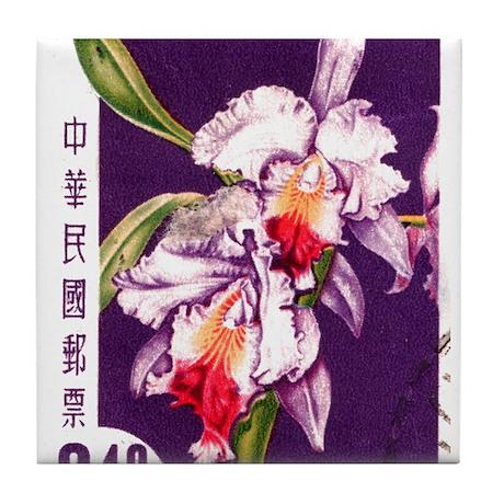 Vintage China Cattleya Orchid Stamp Tile Coaster