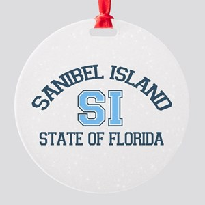Sanibel Island - Varsity Design. Round Ornament