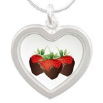 Chocolate Strawberry Silver Heart Necklace