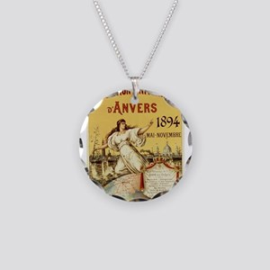 french poster Necklace Circle Charm