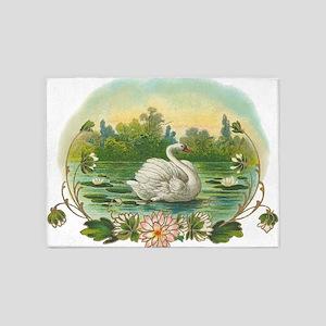 Swimming Swan 5'x7'Area Rug