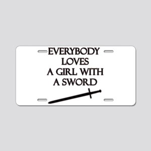 Girl With a Sword Aluminum License Plate