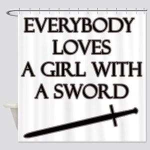 Girl With a Sword Shower Curtain