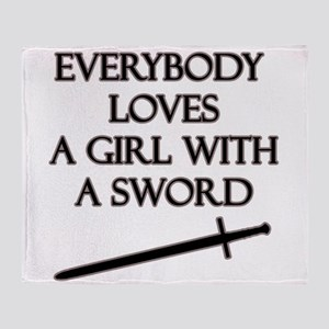 Girl With a Sword Throw Blanket
