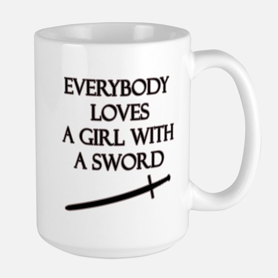 Girl With a Sword Large Mug